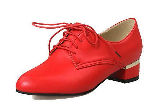 VogueZone009 Women's Lace-up PU Closed-Toe Low-Heels Solid Pumps-Shoes Red 1dm5bdkXV