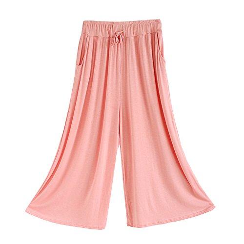 Pantalones Anchos Casuales Elegantes Yoga Jogging Deporte Fitness Cintura Elástica Con Bolsillos Para Mujer Vino Rojo Pink