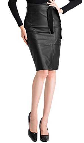 Chartou Women's Chic Belted Slit Pu Leather Midi Pencil Skirt (Medium, Black) (Belted Lace Belt)