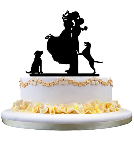 Wedding Cake Toppers, KOOTIPS Hard Acrylic DIY Wedding Mr & Mrs Bride Bridegroom Cake Snack Decorations Picks Suppliers Party Accessories for Wedding Shower (Bride Bridegroom dog cat cake topper)