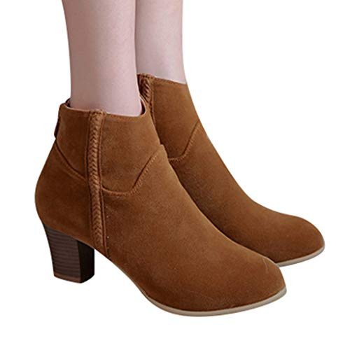 Dasuy Ankle Boots for Women Mid Chunky Heel Western Booties 2019 New Suede Round Toe Zipper Boot Size 5-9 (US:5.5(36), Yellow)