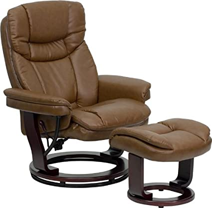 Attrayant Flash Furniture Contemporary Palimino Leather Recliner And Ottoman With  Swiveling Mahogany Wood Base
