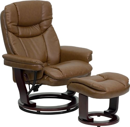 Palimino LeatherSoft Upholstery Recliner/Ottoman with Swiveling Mahogany Wood Base
