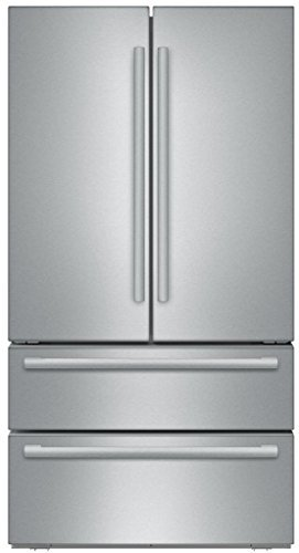 "Bosch 4-Piece Stainless Steel Kitchen Package with B21CL81SNS 36"" French Door Refrigerator, NGM8055UC 30"" Gas Cooktop, SHP68T55UC 24"" Built In Dishwasher and HBL8651UC 30"" Double Electric Oven"