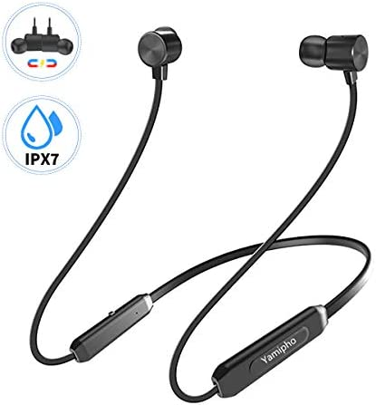 Wireless Headphones, Yamipho Bluetooth 5.0 IPX7 Waterproof 10 Hours Play Time Bluetooth Headphones, Wireless Neckband Magnetic Connection in-Ear Headsets, Sports Earphones for Running Built-in Mic