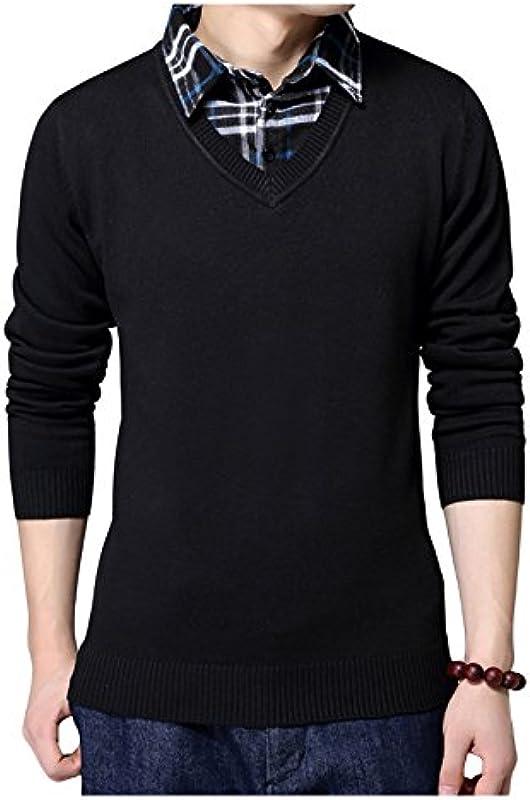 jueshanzj męski fałszywych dwÓch sztuk do robienia na drutach sweter sweter z dekoltem w serek: Odzież