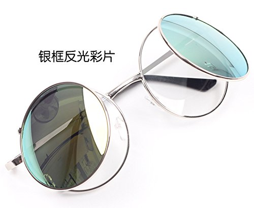 Sunyan Neue antike Sonnenbrille mit großem Rahmen Spiegel Metallabdeckung Double Double Deck Linse für Männer und Frauen 395, Gold frame Asche Blatt