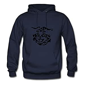 Custom Kitten Navy Women 100% Cotton Hoodies Fitted Funny X-large