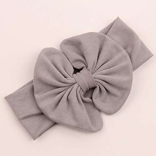 (LittleB Bowknot Headbands Elastic Baby Girl's head wrap for Photograph. (Gray))