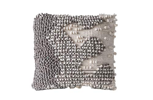 Creative Co-op Hand Grey & White Square Woven Wool Pillow, Grey - Square Wool Pillow