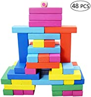 Wooden Building Blocks Stacking Kids Toys, Colorful Stacking Wooden Block Formative Educational Toy Suit 48 in