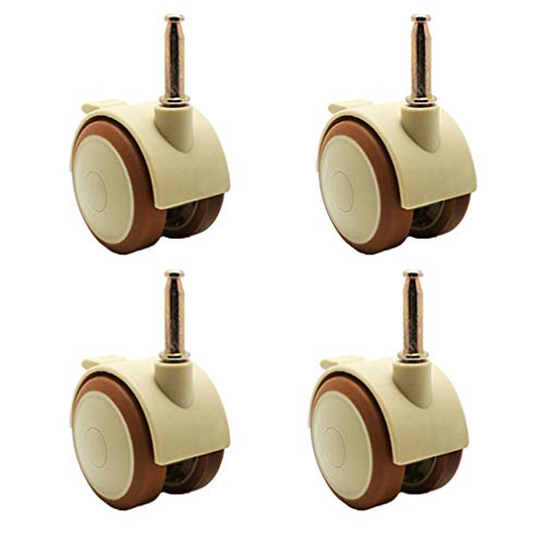 Zlovne01 Furniture Caster,Rubber Swivel Castor Wheel,Brake Caster,Mounting Rod 38mm/28mm,Suitable for Cribs