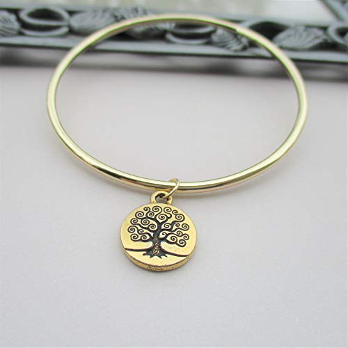 Family Tree gold Bangle, Tree of Life Bracelet, Mother's heirloom Bangle, Grandmother Bracelet, Grandma Bracelet, Grandma Bangle, Mother's Day Gift - size medium