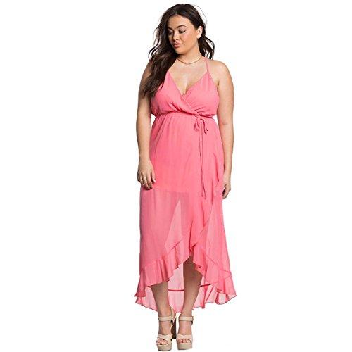 独特のへこみ政令レディースプラスサイズピンクスパゲッティストラップフリル付き高ローラップドレス