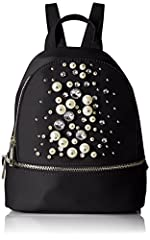 Small satin backpack with pearls and gems detail