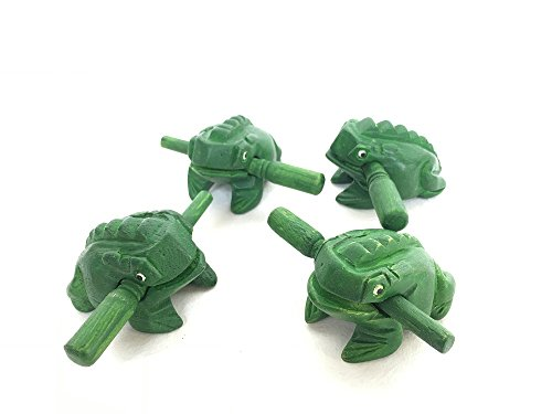 Percussion Instruments Wooden Frog 2 Pieces Set of 2 Inch Small Wood Carving Musical Instrument, Green Wood Frog