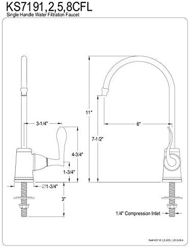 Kingston Brass Gourmetier KS7198CFL Century Single Handle Water Filtration Faucet, Brushed Nickel