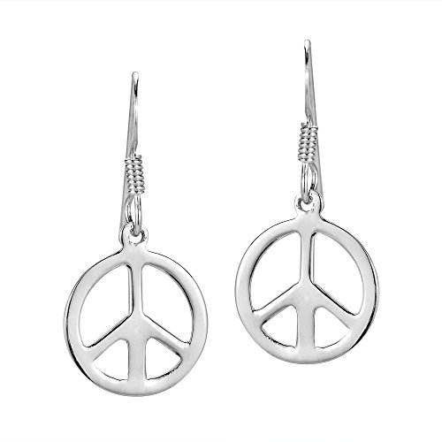 (Peace Sign 'No War' Round 13 mm .925 Sterling Silver Dangle Earrings)