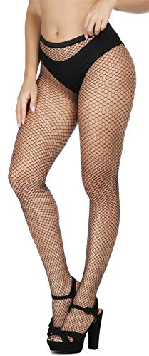 Fishnet Design (HZH Womens Sexy High Waist Tights Fishnet Stockings Thigh High Stockings Pantyhose (Black, M/Small Gride))