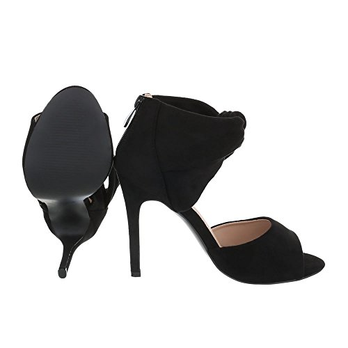 Noir Compensées Design Femme Chaussures Ital zwFxvI