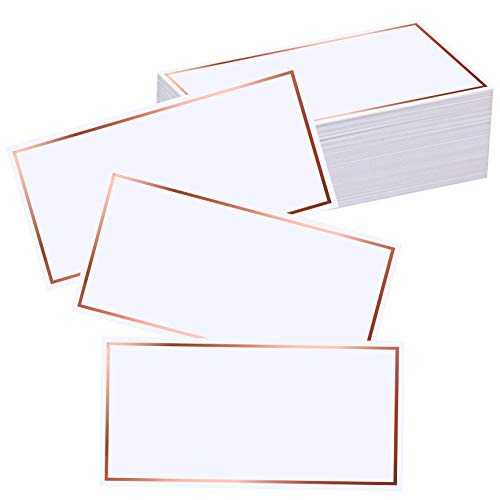 Exquiss 50 Pcs Rose Gold Foil Border Place Cards Name Tags Seating Cards Blank Place Cards White Cards Perfect for Wedding Party Birthday Baby Shower Event - 4 x 2 inches