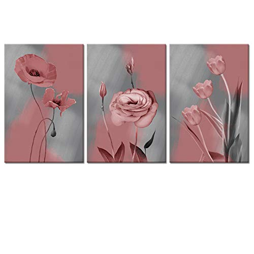 Visual Art Decor Pink Floral Wall Art Tulips Poppy Flowers Picture Grey Canvas Prints for Modern Home Living Room Bedroom Dining Room Decoration Ready to Hang (04 ()