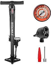 WEIDMAX Fietspomp, ergonomische fiets vloerpomp fietsband inflator fiets luchtpomp draagbare inflator pomp met meter en slimme ventielkop, 160 psi, compatibel met universele Presta en Schrader ventiel