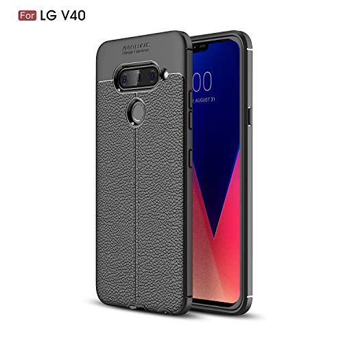 LG V40 ThinQ Case, LG V40 Case, Cruzerlite Flexible Slim Case with Leather Texture Grip Pattern and Shock Absorption TPU Cover for LG V40 ThinQ (Black)