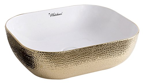 (Whitehaus Collection WH71333-F25 Isabella Plus Collection Rectangular Above Mount Basin with an Embossed Exterior, Smooth Interior, and Center Drain)