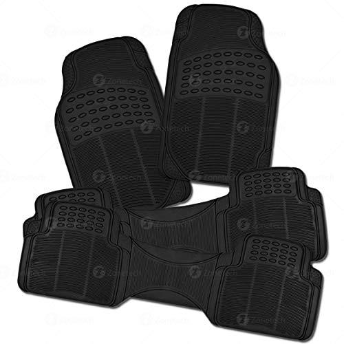 - Zone Tech All Weather Rubber Semi Pattern Car Interior Floor Mats - 4-Piece Set Black Heavy Duty Car Interior Floor Mats
