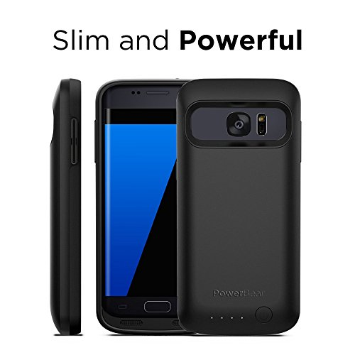 PowerBear Samsung Galaxy S7 Battery Case [4,500 mAh] High Capacity External Battery Charger for The Galaxy S7 (Up to 1.5X Extra Battery) - Black [24 Month Warranty and Screen Protector Included] by PowerBear (Image #4)