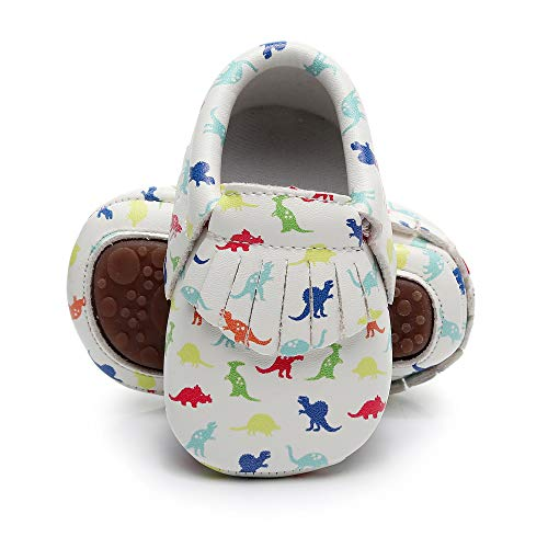 Bebila Baby Moccasins Printing Tassels Rubber Sole Leather First Walkers Toddler Bebe Shoes for Boys and Girls (US 6M/5.12''/13cm 12-18Months, Model-3)