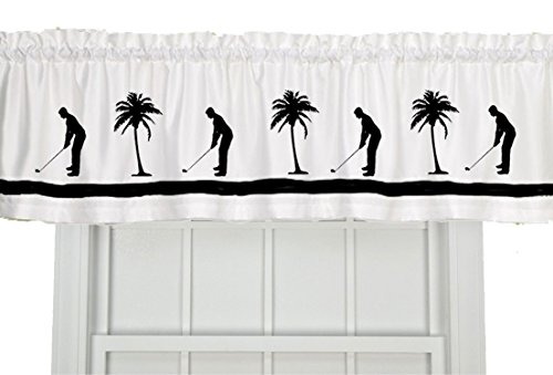 Golf Palm Trees Golfing/Golfer Window Valance / Window Treatment - In Your Choice of Colors - Custom Made