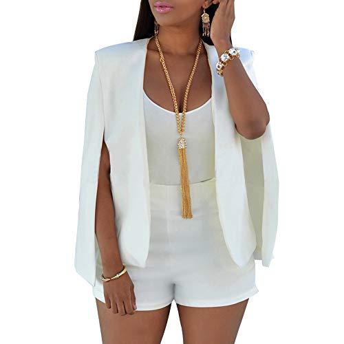 (VERO VIVA Women's Open Front Casual Cape Blazer Wear to Work Solid Suit Coat(M,White))