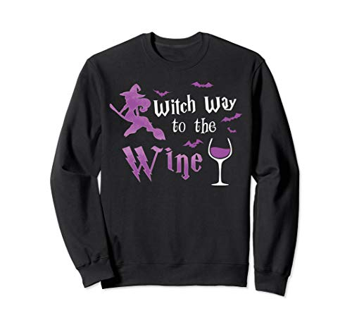 Witch Way To The Wine Funny Halloween Drinking Costume Cute Sweatshirt ()