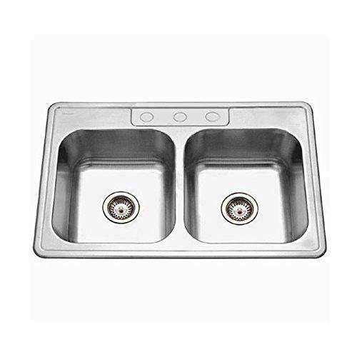 Houzer A3322-65BS3-1 ADA Glowtone Series Topmount Stainless Steel 3-hole 50/50 Double Bowl Kitchen (1 Glowtone Double Bowl)