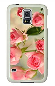 Cute Pink Roses White Hard Case Cover Skin For Samsung Galaxy S5 I9600