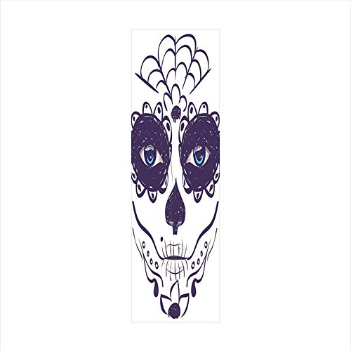 Decorative Window Film,No Glue Frosted Privacy Film,Stained Glass Door Film,Dia de Los Muertos Sugar Skull Girl Face with Mask Make up,for Home & Office,23.6In. by 78.7In Black White and Blue -