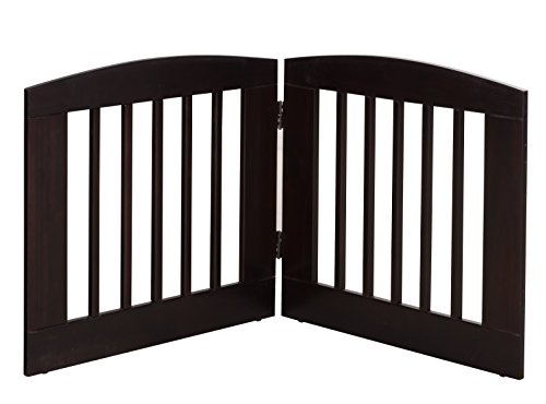 BarkWood Pets Freestanding Pet Gate with Two 24''W x 24''H Folding Wood Panels, Cappuccino by BarkWood Pets