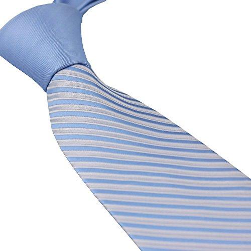 Coachella Ties Solid Color Knot Contrast Diagonal Stripes Necktie Formal Tie 8.5cm (Blue)