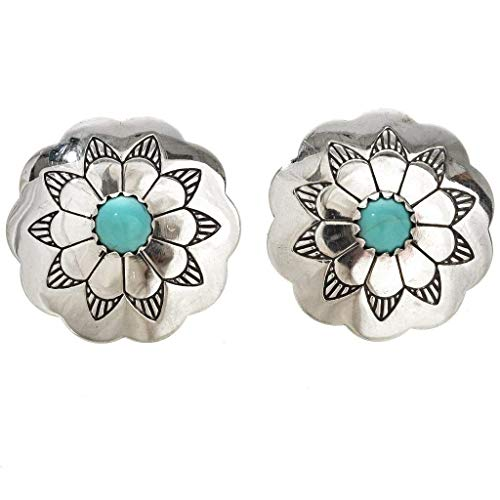 (Navajo Turquoise Blossom Silver Concho Earrings Post Style 1585 )