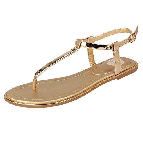 Dasior Womens Summer Strappy String Thong Cinturino Con Fibbia Alla Caviglia Sandali Flat Gladiator Oro