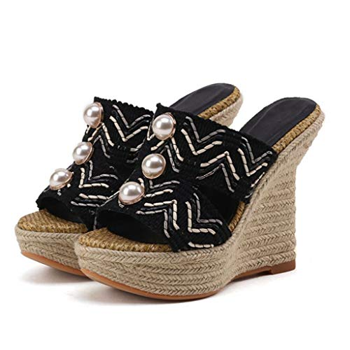 Peep Heels GIY Platform Slip Slides High on High Mules Espadrille Black Wedge Toe Heel Womens Sandals RRqr8pP