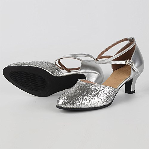 Alto de Color Criss Baile Toe de Zapatos Closed Plateado Puro Cross Tacón Latino XFentech Mujer Lentejuelas Estándar Atractiva Bq4aqw6