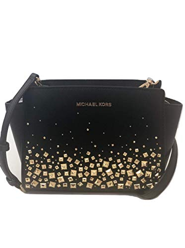 (MICHAEL Michael Kors Selma Stud Medium Messenger Leather Crossbody Handbag Purse - Black/Gold)