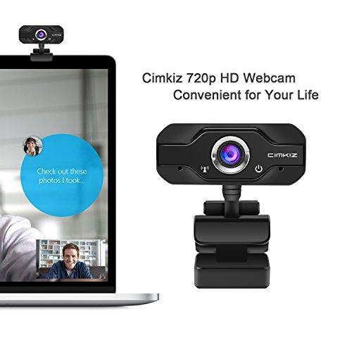 Laptop Webcam - 720p HD USB Webcam, Cimkiz Web Camera with Built-in Microphone and Autofocus,Web Cam for Laptop/Desktop/Skype/Facetime/Youtube/Yahoo Message