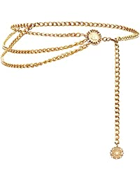 Multilayer Metal Waist Chain Dress Belts Metal Belt for Women