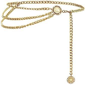Glamorstar Multilayer Metal Waist Chain Dress Belts Metal Belt for Women - Gold - One Size(35.8in)