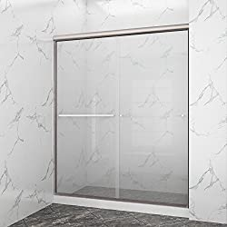 "SUNNY SHOWER B020-6072CB Frameless Glass Sliding Shower Door Clear Glass Brushed Nickel Finish 2 Way Sliding, 60"" W x 72"" H"