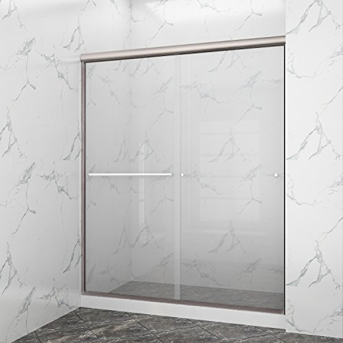 Why Should You Buy SUNNY SHOWER B020-6072CB Frameless Glass Sliding Shower Door Clear Glass Brushed ...